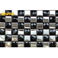 quality beveled subway tile   White And Black Stainless Steel Mixed Mosaic Beveled Glass ...