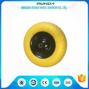 China Elastic Solid PU Foam Wheel 12MM Inner Hole , Hand Dolly WheelsDiamond Pattern on sale