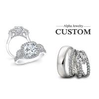 China Fashion 925 sterling silver halo diamond engagement rings for couple on sale