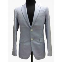 China Light Gray Tailored Mens Tight Fit Suits Serge Pattern Flaps Pockets Formal Wear on sale