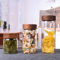 Wholesale Heat Resistant Glass Storage Bottle Jar With Acacia Wooden Screw Top Lid from china suppliers