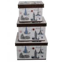 Wholesale Handmade Paris Floral Design Wooden Storage Boxes , MDF + Printed Canvas / Grossy Lamination from china suppliers