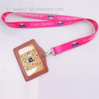 Buy cheap Sub printing neck lanyard with leather id badge, 2 sides sub print flat lanyards from wholesalers