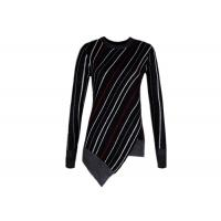 Diagonal Stripes Women's Cotton Pullover Sweaters Contrast Color Customized Size