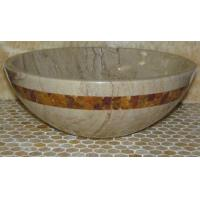 China Sahara Beige Marble Kitchen Bathroom Sinks With Multi Red Onyx Mosaic Inlay on sale