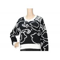 China Pure Cotton Black And White Jacquard Womens Knit Sweater , Custom Spring Sweaters on sale