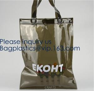 China Personalized Custom Logo Reusable Vinyl Tote Folding Portable Transparent Pvc Shopping Bag,Pvc Shopping Tote Bag Grocery on sale