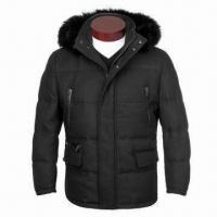 Wholesale Men's 90% Down Jacket with Real Fox Fur, Made of Woolen Large Twill Fabric, Detachable Hood from china suppliers