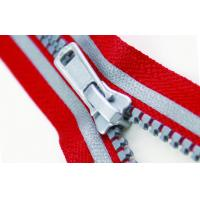 Fashion 5# Red And Gray Plastic Reflective Zipper apparel, luggage accessories