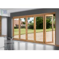 Wood Grain 3D Coating Aluminium Sliding Doors Easy Clean For House Interior