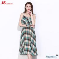 Wholesale 89D17256 2018 New Printed Cotton Sleeveless High Waist Women Midi Dress from china suppliers