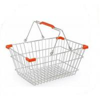 China Wire Mesh Shop Hand Shopping Basket Chrome Plating , Stackable Shopping Baskets on sale