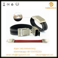 Wholesale giveaway gift embossed logo bracelet leather usb flash drive from china suppliers