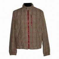 Wholesale Men's Basic Jacket, Made of Yarn Dyed Cotton/Nylon Checks, Garment Wash from china suppliers