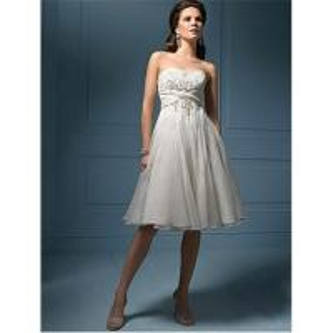 China 2010 brand-new white chiffon knee-length wedding dress  A-57 on sale