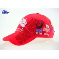 Buy cheap 10x10 Brushed Red Cotton Embroidered Baseball Caps / Cool Baseball Cap from Wholesalers