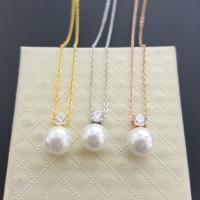 Quality Thin chain gold/silver/rose gold plated pearl/key lock  pendant necklace for sale