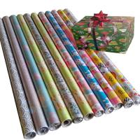 China 76.2cm x 3.39m 80gsm coated paper custom christmas printed gift wrapping paper on sale