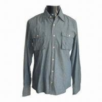 Wholesale Shirt for Men, Casual Jeans Effect, Made of Cotton Chambray, Dirty Wash from china suppliers