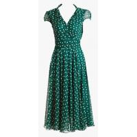 Wholesale Casual Green Short Floral Dresses , Summer Shank V-neck Chiffon Dress from china suppliers