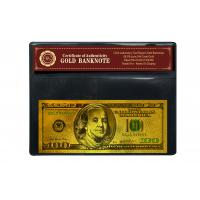 China Christmas Craft Colored 100 Dollar 24K Gold Foil Banknote with COA frame on sale