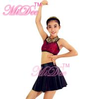 Buy cheap Sleeveless Jazz Tap Costumes Sequin Crop Top Sun Floral Brief Under Skirt from Wholesalers