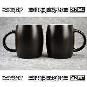 Wholesale 400ML Beer barrel mug black ceramic beer mug custom advertising LOGO for your design from china suppliers
