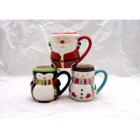 Wholesale Covered Ceramic Christmas Coffee Mugs , Snowman Coffee Cups With Cap Lid / Scarf from china suppliers