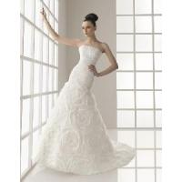 China Drop Waist Ruched Bodice Handmake Floral Skirt Strapless Bride Dress (WD10026) on sale