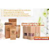 Quality ziplock colorful printing stand up kraft paper bags with clear window,Brown kraft paper aluminum foil zipper plastic bag for sale