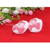 Wholesale Pink Bows Accessories Handmade Crochet Baby Shoes For Girls , Knitted Baby Shoes from china suppliers
