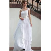 Floor Length One Shoulder White Mature Evening Dress / Modern Bridesmaids Dresses -30665