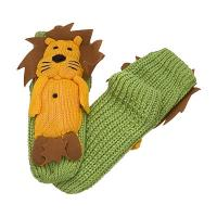 Wholesale Green Knitted Slipper Aloe Infused Socks With Gold Lion Pattern Design from china suppliers