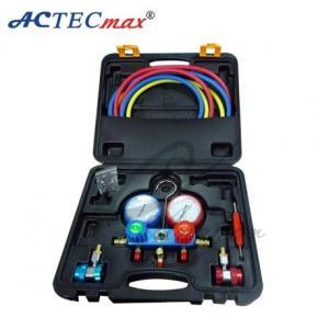 China refrigerant Digital r134a / r22 r410a manifold gauge set With 1.5 meter three-color hose on sale