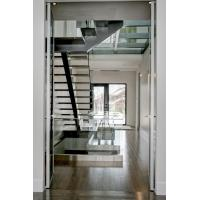 Wholesale Inside straight staircase wooden stair with glass railing design from china suppliers