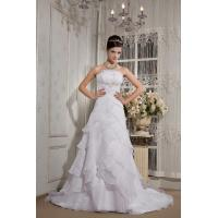 Wholesale Vintage Strapless White A-line Long Organza Wedding Bridal Dress With Ruffles from china suppliers