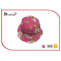 Buy cheap Floristic Print Red Girls Bucket Hats 52cm With Pink Cotton Fabric from Wholesalers