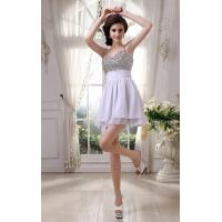 Wholesale Spaghetti Strap A Line Ruffle White Chiffon Prom Dress For Cocktail Dress With Beaded Mini Short from china suppliers