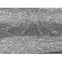 Wholesale Beautiful Silver Embroidered Heavy Beaded Lace Fabric , Beaded Net Fabric 130cm Width from china suppliers