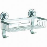 Wholesale Square-shaped Suction Cup Soap Basket with Polished Finish, Made of Black PVC, ABS/ Stainless Steel from china suppliers