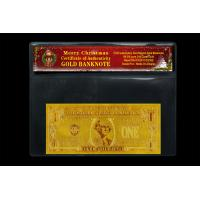 Wholesale 24k Gold USD1 Dollar Banknote Bill Certificate of Authenticity With Chrismas COA Best For Gift from china suppliers