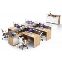 Buy cheap 280cm MFC Office Computer Desk American Walnut Color / Four Staff Workstation from wholesalers
