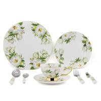 Wholesale 8pcs Green Bone China Dinnerware Sets With Beautiful Printing Oven Safe from china suppliers