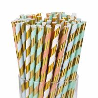 Buy cheap Gold Foil Jumbo Paper Straws , Eco - Friendly Paper Straws For Restaurants from wholesalers