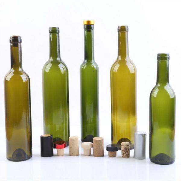 Quality 375ml 500ml 750ml Empty Glass Wine Bottles Dark Green Glass Bottles For Liquor Vodka / Whisky for sale