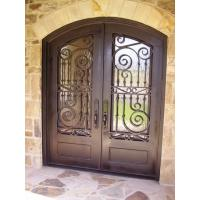 China Eyebrow double door wrought iron entry doors with tempered glass lead time 30 to 35 days on sale