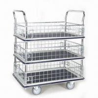 Wholesale Iron Net Type Trolley with Three Shelves Platform and Chrome-plated Handle from china suppliers