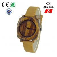 Genuine Leather Band Wooden Wrist Watch For Man , Wooden Mens Watch