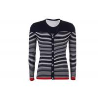 V Neck Mens Knit Cardigan Sweater Button Down , Long Sleeves Striped Cardigan Jacket