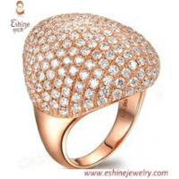 Rose gold micro paved clear cz egg shape brass ring gift from china
